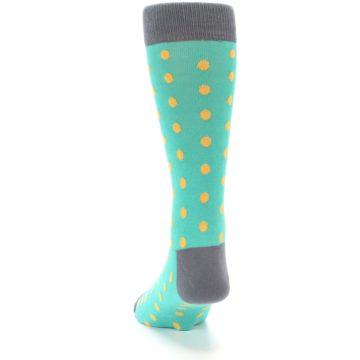 Image of Teal Orange Polka Dots Men's Dress Socks (back-17)