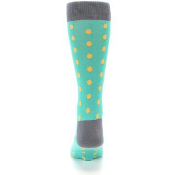 Image of Teal Orange Polka Dots Men's Dress Socks (back-18)
