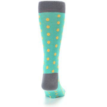 Image of Teal Orange Polka Dots Men's Dress Socks (back-19)