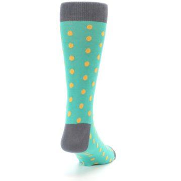 Image of Teal Orange Polka Dots Men's Dress Socks (side-1-back-20)