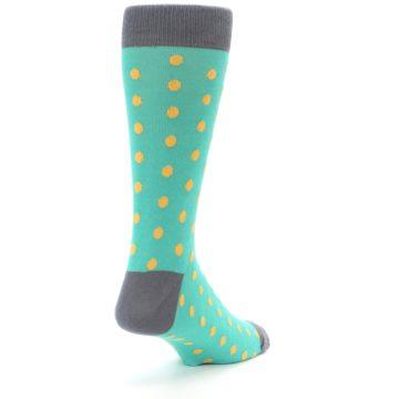 Image of Teal Orange Polka Dots Men's Dress Socks (side-1-back-21)