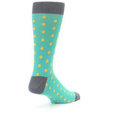 Image of Teal Orange Polka Dots Men's Dress Socks (side-1-back-22)