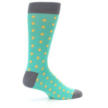 Image of Teal Orange Polka Dots Men's Dress Socks (side-1-24)