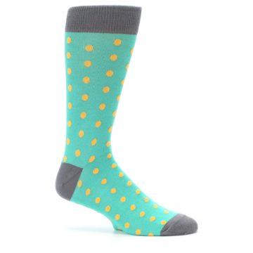 Image of Teal Orange Polka Dots Men's Dress Socks (side-1-25)