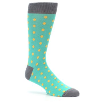 Image of Teal Orange Polka Dots Men's Dress Socks (side-1-26)