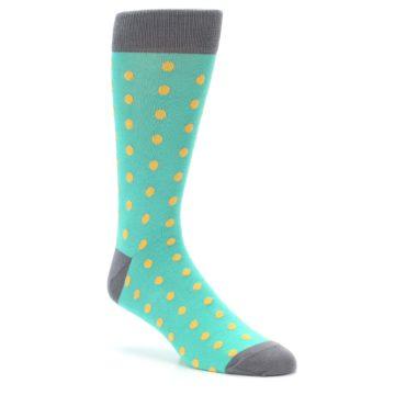 Image of Teal Orange Polka Dots Men's Dress Socks (side-1-27)