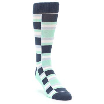 Image of Mint Blues Stacked Men's Dress Socks (side-1-front-02)
