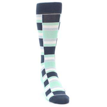 Image of Mint Blues Stacked Men's Dress Socks (side-1-front-03)