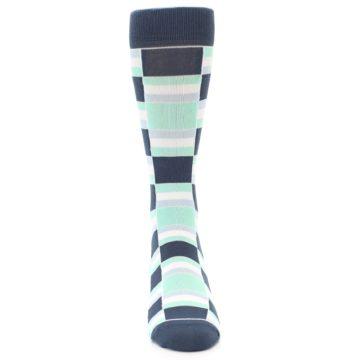 Image of Mint Blues Stacked Men's Dress Socks (front-04)