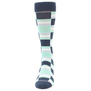 Image of Mint Blues Stacked Men's Dress Socks (front-05)