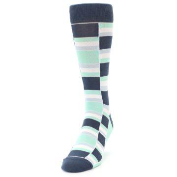 Image of Mint Blues Stacked Men's Dress Socks (side-2-front-06)