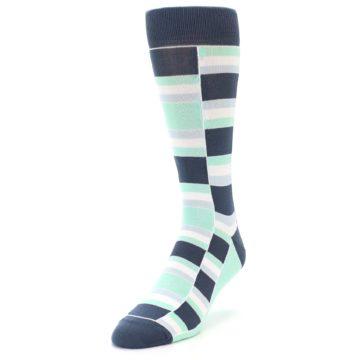 Image of Mint Blues Stacked Men's Dress Socks (side-2-front-07)