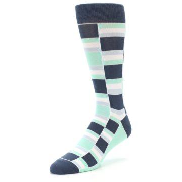 Image of Mint Blues Stacked Men's Dress Socks (side-2-front-08)