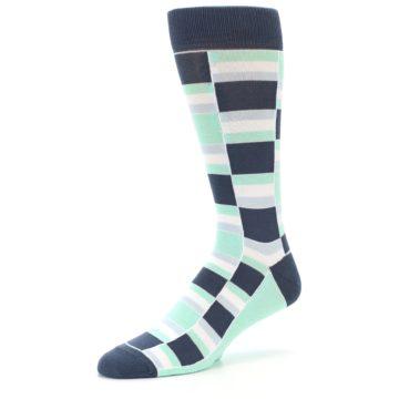 Image of Mint Blues Stacked Men's Dress Socks (side-2-09)