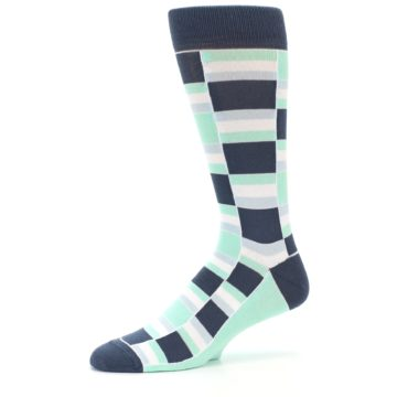 Image of Mint Blues Stacked Men's Dress Socks (side-2-10)