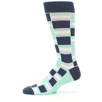 Image of Mint Blues Stacked Men's Dress Socks (side-2-11)