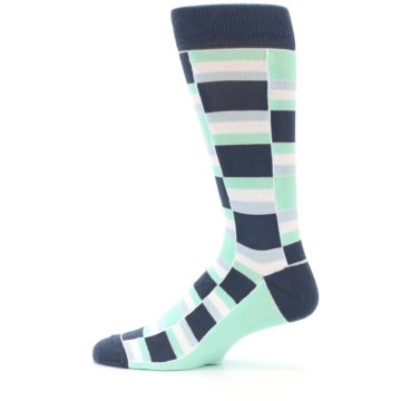 Image of Mint Blues Stacked Men's Dress Socks (side-2-12)