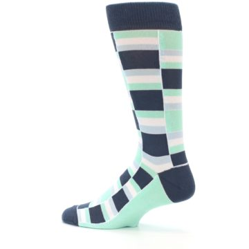 Image of Mint Blues Stacked Men's Dress Socks (side-2-13)
