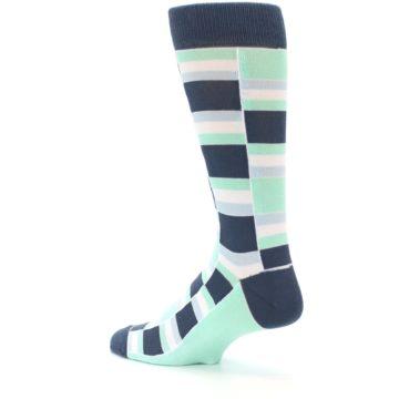 Image of Mint Blues Stacked Men's Dress Socks (side-2-back-14)