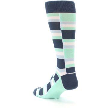 Image of Mint Blues Stacked Men's Dress Socks (side-2-back-15)