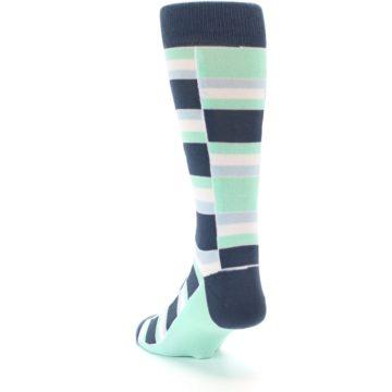 Image of Mint Blues Stacked Men's Dress Socks (side-2-back-16)
