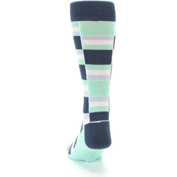 Image of Mint Blues Stacked Men's Dress Socks (back-17)