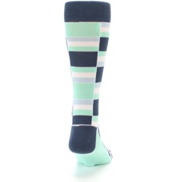 Image of Mint Blues Stacked Men's Dress Socks (back-19)
