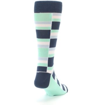 Image of Mint Blues Stacked Men's Dress Socks (side-1-back-20)