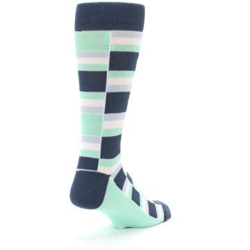 Image of Mint Blues Stacked Men's Dress Socks (side-1-back-21)