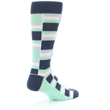 Image of Mint Blues Stacked Men's Dress Socks (side-1-back-22)