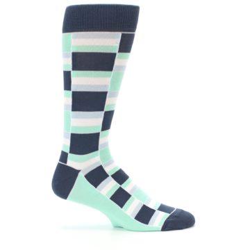 Image of Mint Blues Stacked Men's Dress Socks (side-1-24)