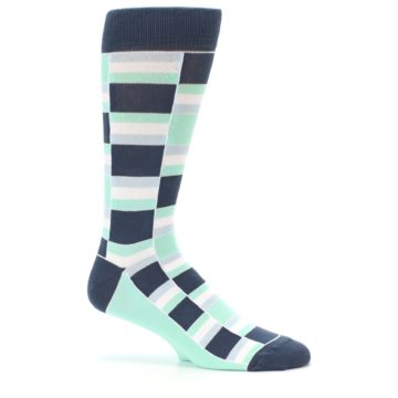 Image of Mint Blues Stacked Men's Dress Socks (side-1-25)