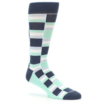Image of Mint Blues Stacked Men's Dress Socks (side-1-26)