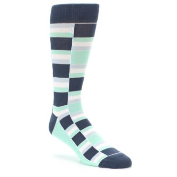 Image of Mint Blues Stacked Men's Dress Socks (side-1-27)