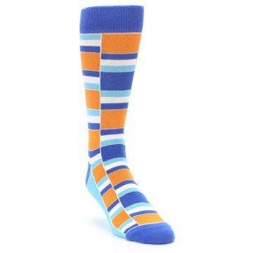 Image of Blue Orange Stacked Men's Dress Socks (side-1-front-02)