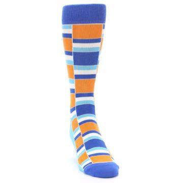 Image of Blue Orange Stacked Men's Dress Socks (side-1-front-03)