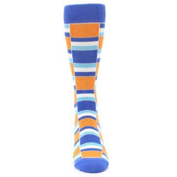 Image of Blue Orange Stacked Men's Dress Socks (front-04)