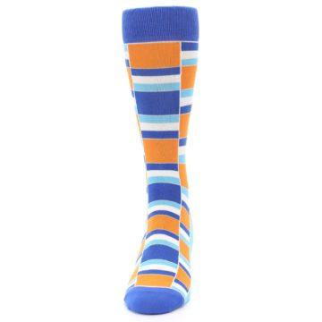 Image of Blue Orange Stacked Men's Dress Socks (front-05)