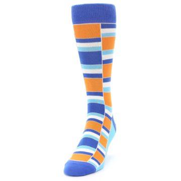 Image of Blue Orange Stacked Men's Dress Socks (side-2-front-06)
