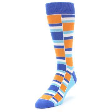 Image of Blue Orange Stacked Men's Dress Socks (side-2-front-07)