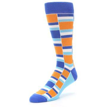 Image of Blue Orange Stacked Men's Dress Socks (side-2-front-08)