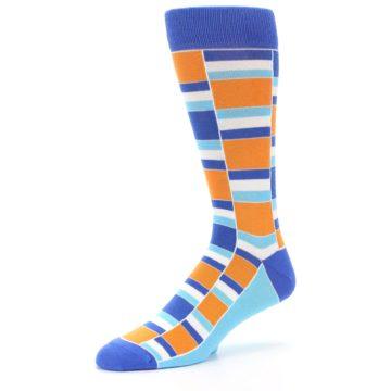 Image of Blue Orange Stacked Men's Dress Socks (side-2-09)