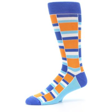 Image of Blue Orange Stacked Men's Dress Socks (side-2-10)