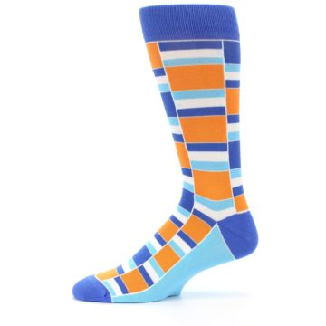 Image of Blue Orange Stacked Men's Dress Socks (side-2-11)