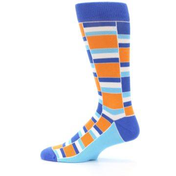 Image of Blue Orange Stacked Men's Dress Socks (side-2-12)