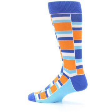 Image of Blue Orange Stacked Men's Dress Socks (side-2-13)