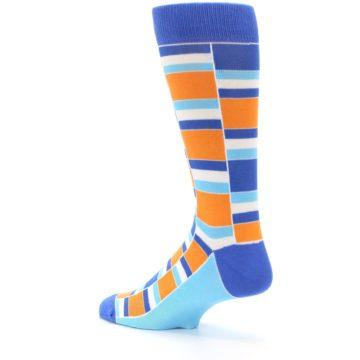 Image of Blue Orange Stacked Men's Dress Socks (side-2-back-14)