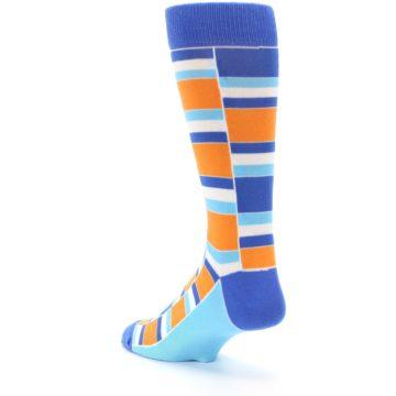 Image of Blue Orange Stacked Men's Dress Socks (side-2-back-15)