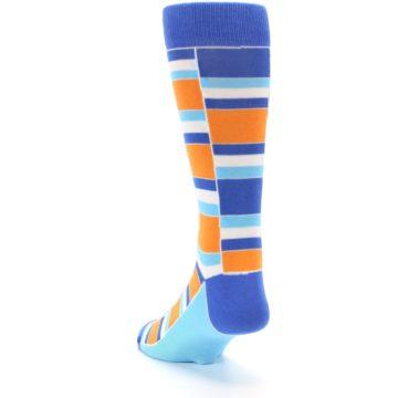 Image of Blue Orange Stacked Men's Dress Socks (side-2-back-16)