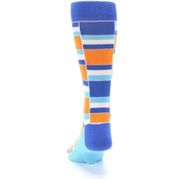 Image of Blue Orange Stacked Men's Dress Socks (back-17)
